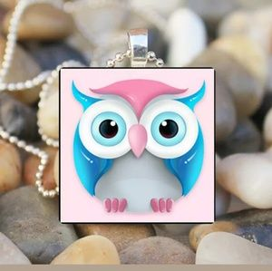Pink & Blue Owl Silver & Glass Tile Necklace